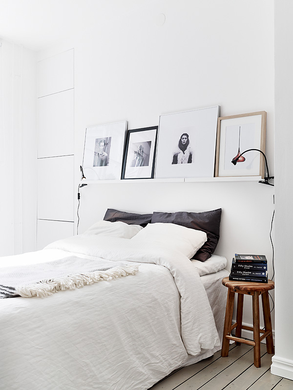 White-bedroom-IKEA-ribba-picture-rail