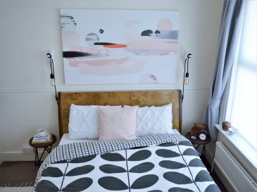 Small English Terrace House - Bedroom Update with Photowall Canvas & Orla Kiely Duvet