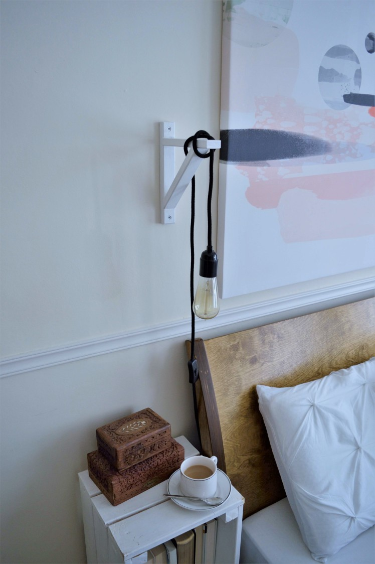Bedroom Update with Photowall Canvas Edison DIY Bulb Sconce