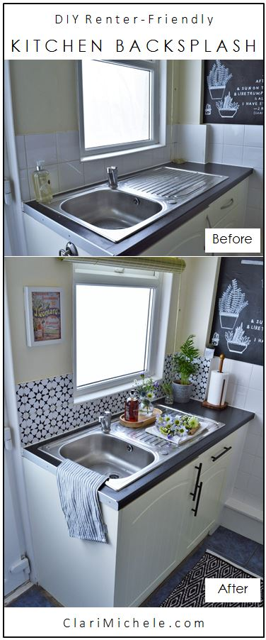 Tiny Kitchen Renter-Friendly Makeover Removable Tile Backsplash