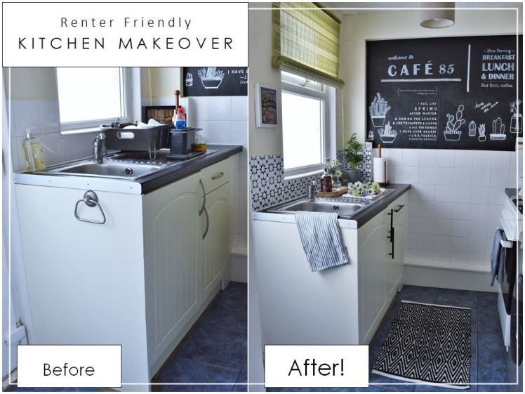 Tiny Kitchen Gets a Renter-Friendly Makeover Before and After